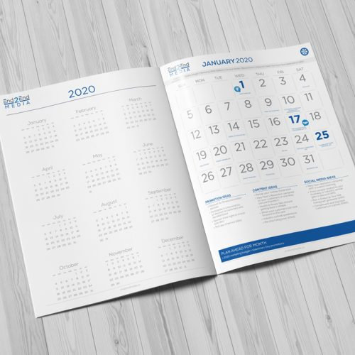 2020 Calendar for your company's marketing sample by End2End Media